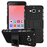 DEFENDER Hard Armor Hybrid Rubber Bumper Flip Stand Rugged Back Case Cover For Xiaomi India RedMi 2 / 2s / 2 Prime - Black