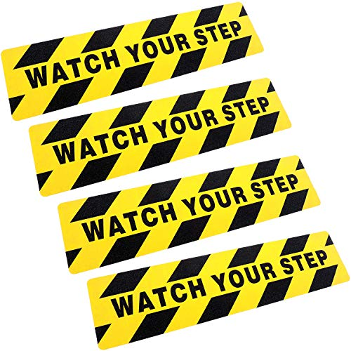 - Boao 6 by 24 Inches Watch Your Step Warning Sticker Adhesive Tape Anti Slip Abrasive Tape for Workplace Safety Wet Floor Caution (4)