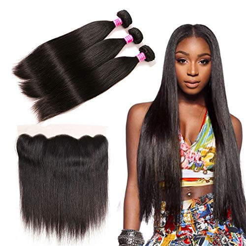 Brazilian Straight 3 Bundles With 13x4 Frontal Human Hair Extensions Unprocessed Virgin Hair Weave Weft Free Part Natural Black Color For Woman(12 12 12+10,13x4 Frontal)
