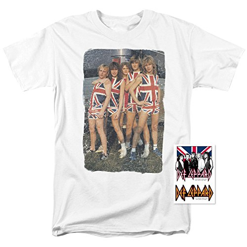 (Def Leppard Band Union Jack 80s Rock T Shirt (Medium))