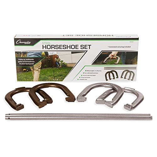(Champion Sports Classic Horseshoe Set: Traditional Outdoor Lawn Game Includes Four Professional Solid Steel Horseshoes with Solid Steel Stakes & Carrying Storage Bag)
