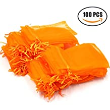 """Md trade Organza Drawstring Pouches Gift Bags Pouch for jewerly / wedding / party, 4""""x 6"""" , 100 Pieces(Orange)"""