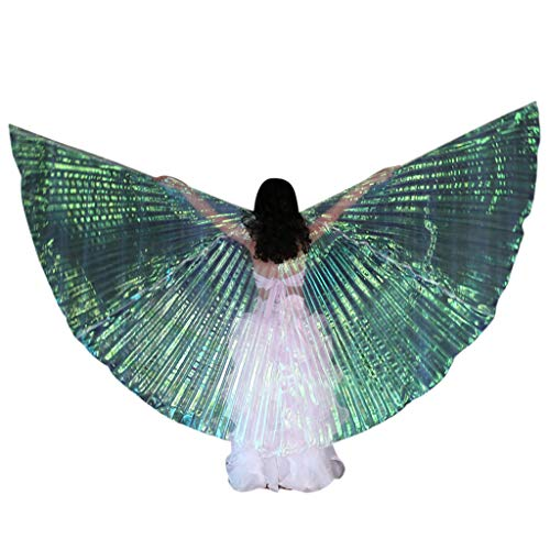 BXzhiri LED Children Belly Dance Wings Isis Wings Dance Costumes Glowing Performance Clothing with Telescopic Stick]()