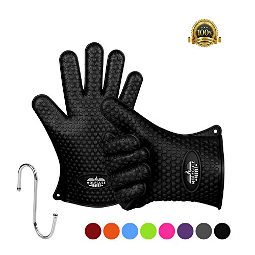 Molecule Gloves Heat Resistant Premium Insulated Grilling Gloves Kitchen Gloves, Pot Holders, Oven Mitts and BBQ Gloves - Five Finger Slots