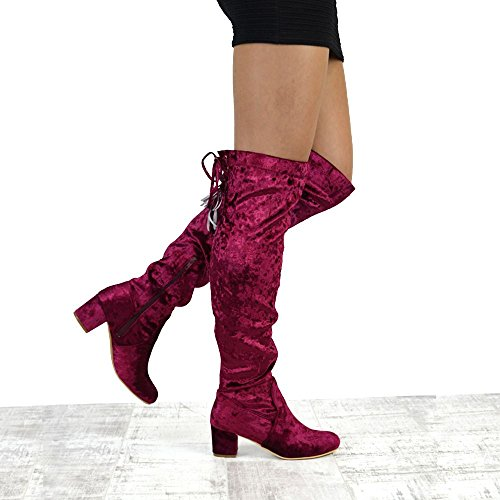 ESSEX GLAM Womens Thigh High Velvet Lace Up Ladies Low Heel Over The Knee High Long Boots burgundy velvet HVxkdH