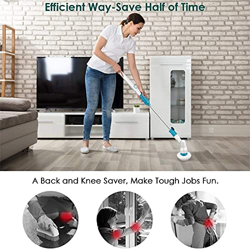 Electric Spin Scrubber, Cordless Bathroom Scrubber, Super Power Floor Scrubber Surface Cleaner with 3 Replaceable Brush Heads and 1 Extension Arm for Tub, Kitchen, Tile, Blue