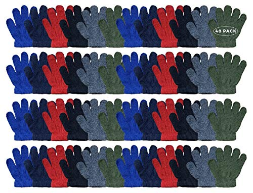 Yacht & Smith Kids Warm Winter Colorful Magic Stretch Gloves And Mittens For 2-5 Age Kids (48 Pairs Pack C)