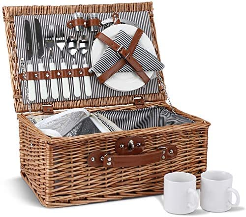 Picnic Basket for 2, Willow Hamper Set with Insulated Compartment, Handmade Large Wicker Picnic Basket Set with Utensils Cutlery – Perfect for Picnicking, Camping, or any Other Outdoor