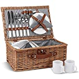 Picnic Basket for 2, Willow Hamper Set with