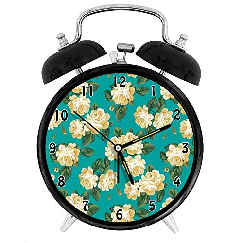 Happy-zhjX Retro Style Twin Bell Alarm Clock with nightlight,4in,Black Number Decoration-Romantic English Roses Flourishing Garden Art,for Home and Office.