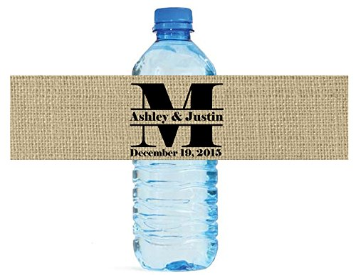 Burlap Monogram Wedding Water Bottle Labels Great for Engagement Bridal Shower Party easy to use self stick label