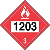 """Accuform Signs MPL733VS1 Adhesive Vinyl 4-Digit DOT Placard, Hazard Class 3, Legend """"1203"""" (Gasoline), 10-3/4"""" Length x 10-3/4"""" Width x 0.004"""" Thickness, Black/White on Red"""