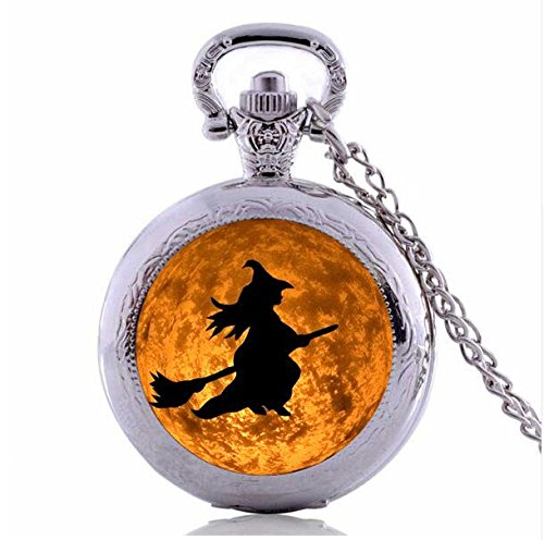 Halloween Costumes Jewelry Steampunk Witch Moon Pocket Watch Necklace Vintage Accessories