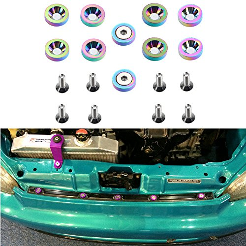 DEWHEL Neo Chrome 10Pc Aluminum Engine Fender Bumper Wahser Bolts Screw Dress Up Kit JDM Fit GM Ford Honda BMW Mitsubishi Acura ()