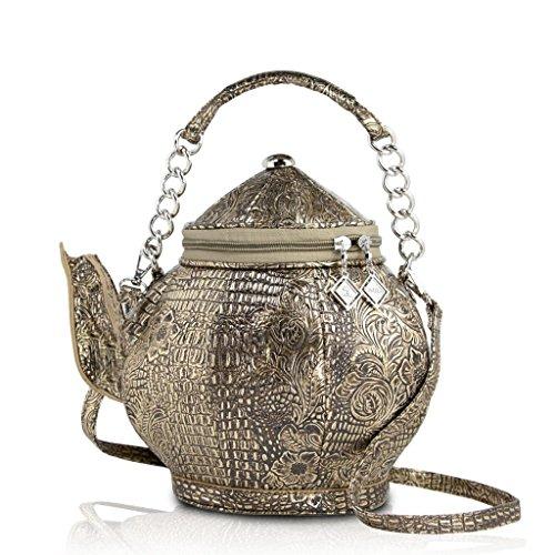 DARLING'S Teapot Fashion Design Handbag Shoulder Bag Copper]()