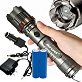 3-Mode Super Bright Survival Camping Aluminum Torches Zoomable Flashlight w/ 2x Battery For Emergency Light Roadside, Home tool, Camping, Hiking, Travel Outdoor And Etc. FL-9