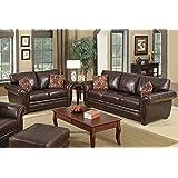 SC Furniture Ltd Brown Leather 3 Seater Sofa + Leather 2 Seater Sofa Suite HIGHBURY
