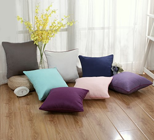 Set of 2 Solid Decorative Throw Pillow Covers Cases for Sofa Couch Bed,100 Percents Cotton Square Pillow Covers Euro Shams Cozy Soft Cushion Covers 18x18 Inch,Best for Home Décor (Eggplant) by Sunday Praise (Image #6)