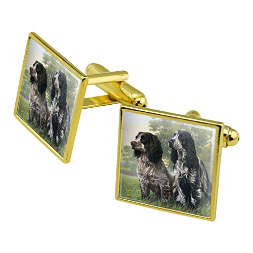 Graphics and More Pair of English Cocker Spaniel Dogs Square Cufflink Set Gold Color
