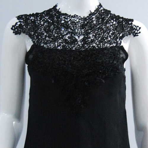 couleur Tops R pour la en Blouse Mode Blanc Dentelle de SODIAL M unie Patchwork Femmes decontracte de soie Chemises D'ete mousseline en a Noir de a1F5wdq