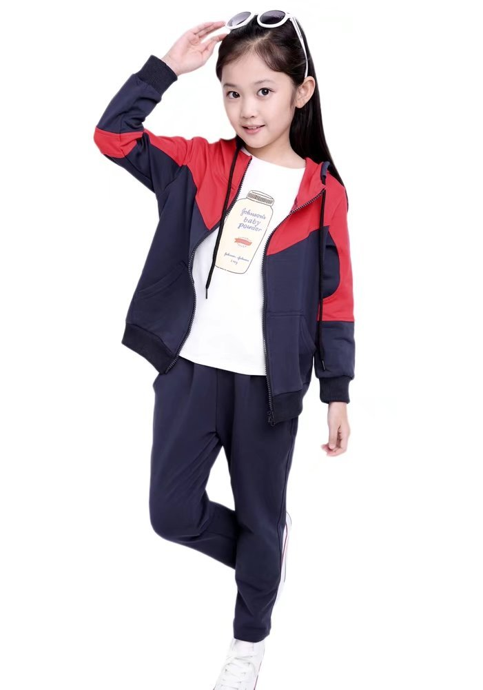 Kids Long Sleeves Zip Up Jacket & Jogger Sweat Pants Track Set Tracksuit Sportswear Outfit Sports Suit for Little & Big Girls, Black 5-6 Years=Tag 140 by BINPAW (Image #2)