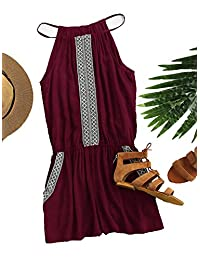 Romwe Women's Casual Embroidered Tape Detail Cami Romper Jumpsuit with Pockets