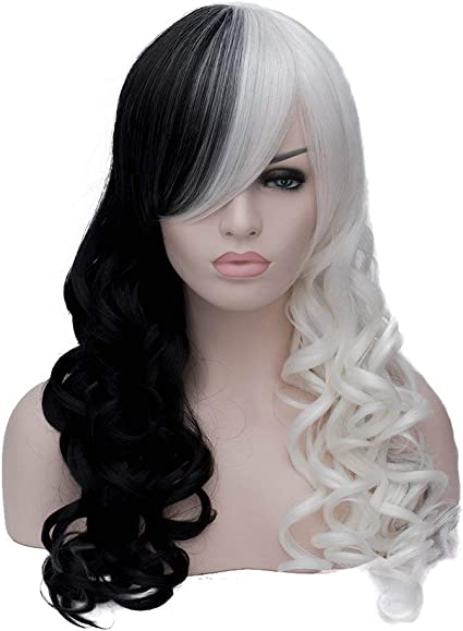 LifeUp Peluca de pelo largo, resistente al calor, mitad negra, blanco, 2 tonos, con brazaletes planos, para mujer, cosplay, fiesta diaria: Amazon.es: Belleza