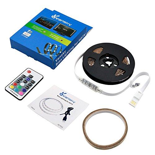 Led-Strip-lightsVansky-Bias-Lighting-for-40-60-inch-HDTV-66ft-RGB-USB-Powered-LED-Light-Strip-with-RF-RemoteTV-Backlight-Kit-for-Flat-Screen-TVPC-Reduce-Eye-Strain-and-Increase-Image-Clarity