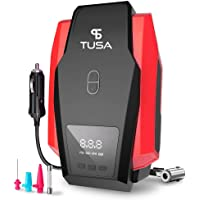TUSA Digital Car Tyre Inflator - 12V DC Portable Air Compressor with LED Light for Car Tires - Motorcycle - Bicycle and Other Inflatables(Red)