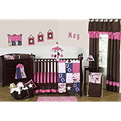 Western Horse Cowgirl Pink and Brown Baby Girl Bedding 11pc Crib Set without bumper