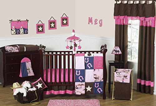 Denim Crib Bedding (Sweet Jojo Designs 11-Piece Western Horse Cowgirl Pink and Brown Baby Girl Bedding Crib Set Without Bumper)
