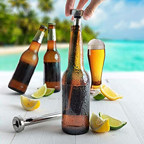 Vinetto Stainless Steel Beer Chiller Sticks (Set of 3) & Bottle Opener – Wine, Water, Beverage Cooling Sticks for Bar…
