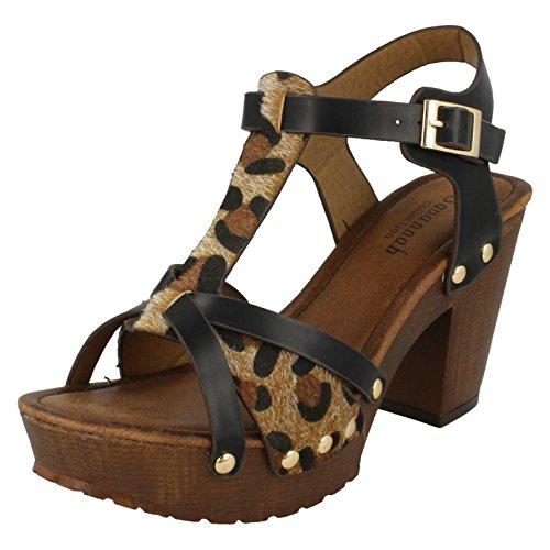 Tulostaa Alustan Puu Naisten Gepardi Savanni Sandaalit Tukkia Korkea Musta q7YnwT