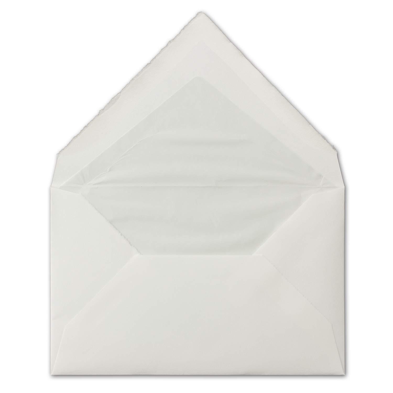 250 Stück Stück Stück ca. B6 Vintage Brief-Umschläge, echtes Bütten-Papier, 11,8 x 18,2 cm, Weiß halbmatt gefütterte Brief-KuGrüns - Original Zerkall-Bütten B07H2JM95W | Einzigartig  fe5318