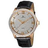 Joshua & Sons Men's 'Diamond Quartz Metal and Leather Dress Watch, Color:Black (Model: JS-19-RG)