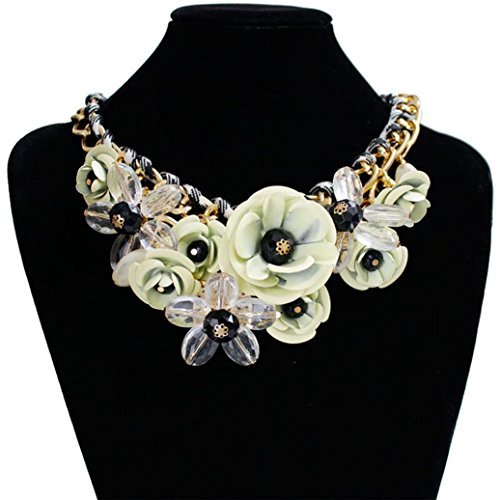 DZT1968 Women Mixed Style Chain Crystal Colorful Flower Luxury Weave Necklace (White)