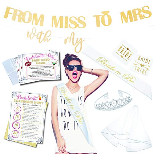 Bachelorette Party Supplies & Games Kit By Merri | Bridal Shower Decoration Set | Party Games & Decor | Bridal Sash, Veil, Tiara, Tattoos for Bride & Bride Tribe, Banner & 2 Drinking Dare Games