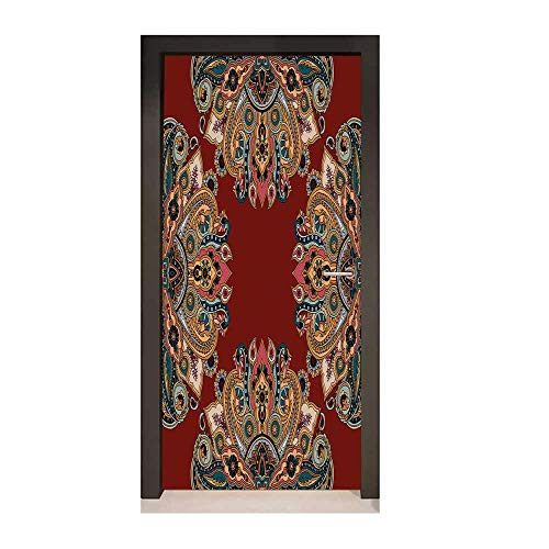 - Maroon 3D Door Decal Oriental Traditional Paisley Pattern Mandala Inspired Round Authentic Boho Folk Hues Creative Self-Adhesive Decoration Multicolor,W23xH70