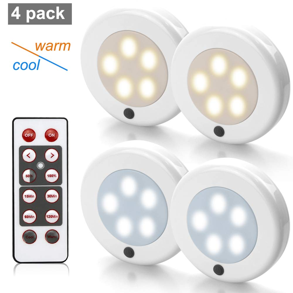 Focondot Puck Lights, Wireless Under Cabinet Light with Remote Control, Brightness Adjustable and Two Switchable Different Color, Battery Powered Lights for Hallway, Bathroom, Bedroom, Kitchen(4 Pack)