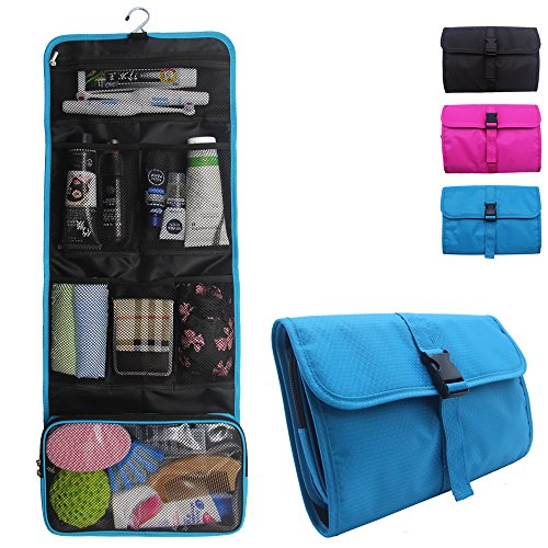 - Relavel Travel Hanging Toiletry Bag for Men Women Travel Kit Shaving Bag Waterproof Wash Bag Makeup Organizer for Bathroom Shower Blue (1 Sky Blue)