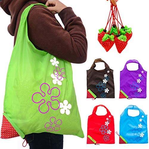 JASSINS Reusable Grocery Bags, Set of 10 Ripstop Shopping Bags with Pouch Large Recycle Gift Bags (10 Pack/5Colors)