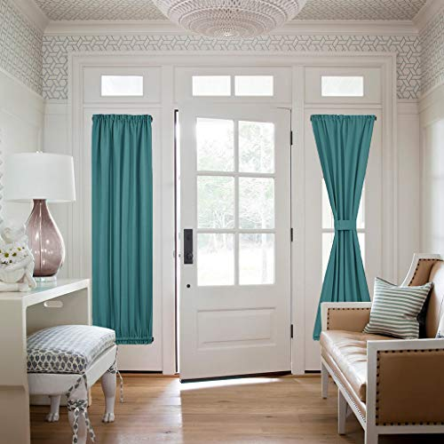NICETOWN Sidelight Front Door Curtain - Thermal Insulated Room Darkening Privacy French Sliding Glass Door Window Treatment Shades Panels, 25 Width x 72 Length inches, Sea Teal, 2 Panels