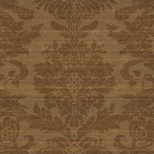 Wallpaper Designer Metallic Copper Faux Fabric Large Damask (Designer Fabric Wallpaper)