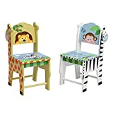 Fantasy Fields Chairs Set of 2, White/Yello/Multi-Color, 13'' x 11.5'' x 26.75''