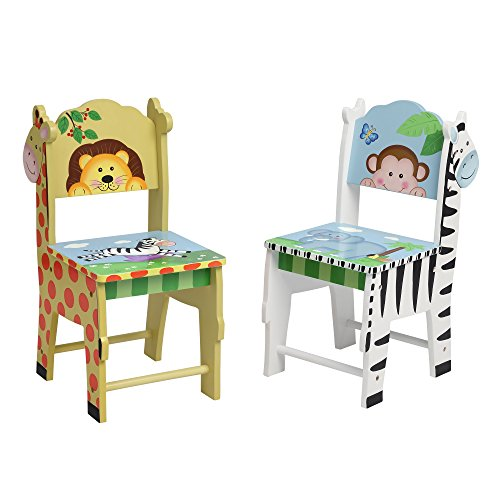 Fantasy Fields Chairs Set of 2, White/Yello/Multi-Color, 13'' x 11.5'' x 26.75'' by Fantasy Fields