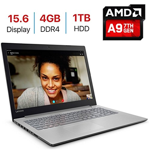 Newest Premium Lenovo IdeaPad 320 15.6-inch HD Display Laptop PC (7th Gen AMD A9-9420 Processor 3.0GHz, 4GB DDR4, 1TB HDD, 802.11ac WiFi, HDMI, Bluetooth, Webcam, DVD±RW, Windows 10-Platinum Grey)