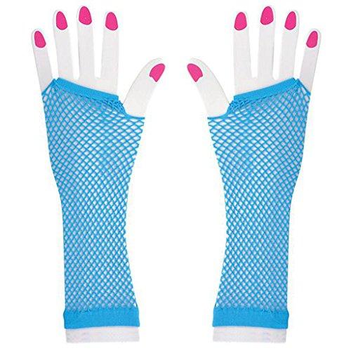 Long Neon Fishnet Fingerless Wrist Gloves Party Accessory - Neon Blue]()