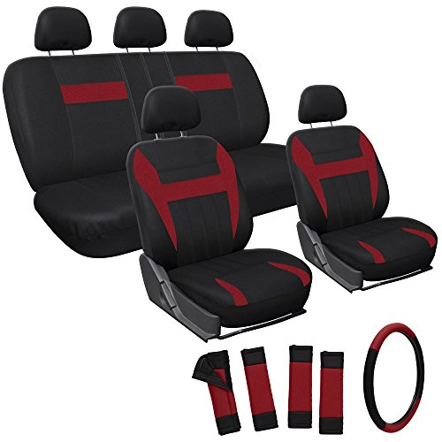 Oxgord 17pc Set Flat Cloth Mesh / Red & Black Auto Seat Covers Set - Airbag Compatible - Front Low Back Buckets - 50/50 or 60/40 Rear Split Bench - 5 Head Rests - Universal Fit for Car, Truck, Suv, or