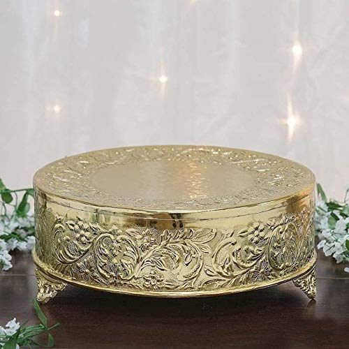 Efavormart 18 inch Gold Round Embossed Metal Cake Plateau Stand Riser Wedding Birthday Party Dessert Cake Pedestal Display Plate ()
