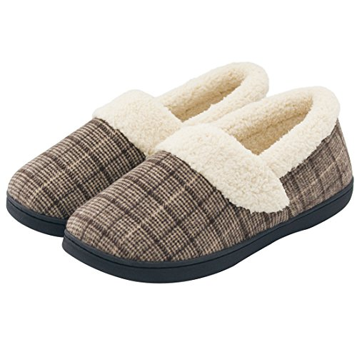HomeIdeas Men's Woolen Fabric Plaid House Slippers, Anti-Slip Autumn Winter Indoor / Outdoor Shoes